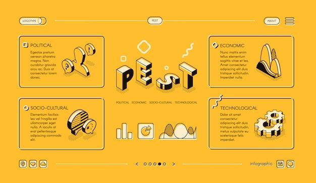 Pest анализ, стратегия бизнес-планирования, изометрический веб-баннер, шаблон целевой страницы Бесплатные векторы