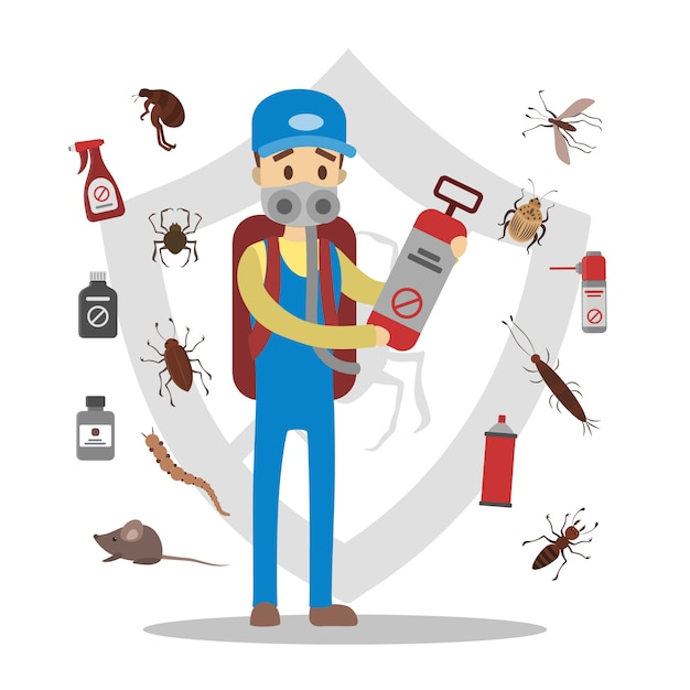 Pesticides and insects set. pest control service. Premium Vector