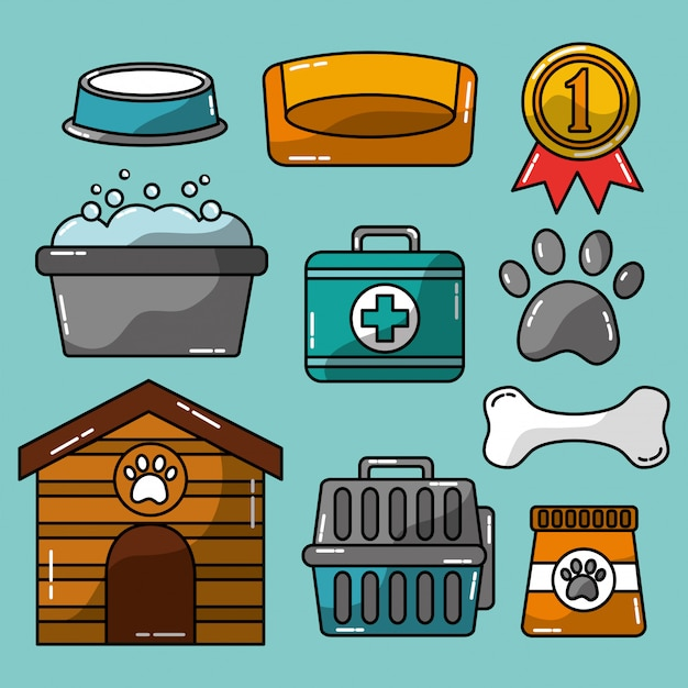 Pet  accessories grooming and veterinary care Free Vector