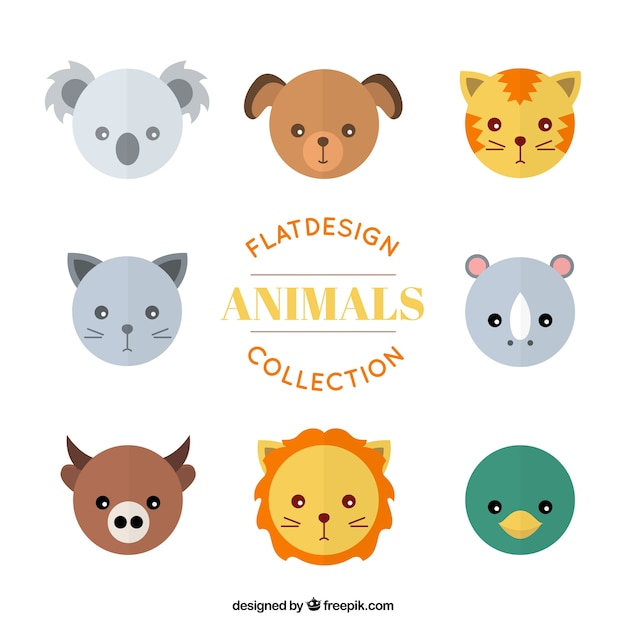 Pet and wild animal avatars set in flat\ design