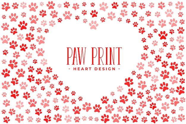 Любовь домашних животных с отпечатками лап и сердцем Бесплатные векторы