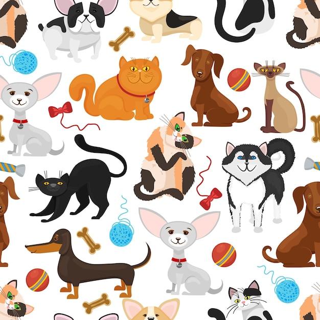 ペットの背景。犬と猫のシームレスなパターン。ペットの子猫と子犬、おもちゃのイラストと血統ペット 無料ベクター