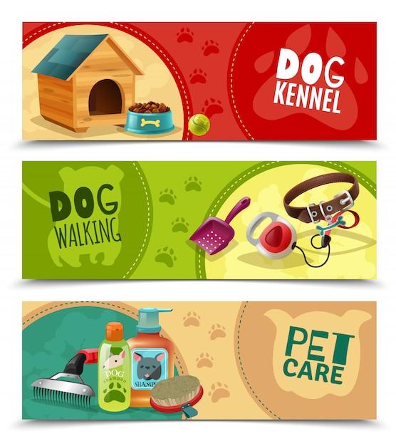 Pet care 3 горизонтальные баннеры Бесплатные векторы