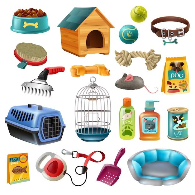 Pet care elements set Free Vector