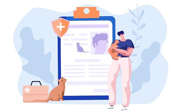 애완 동물 관리, 의료 건강 고양이 및 개 및 기타 동물, 수의학 의료 보호 및 관리. 프리미엄 벡터