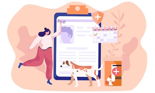애완 동물 관리, 의료 건강 고양이 및 개 및 기타 동물 프리미엄 벡터