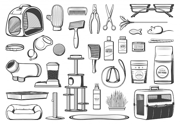 Pet care supplies for cats isolated icons Premium Vector