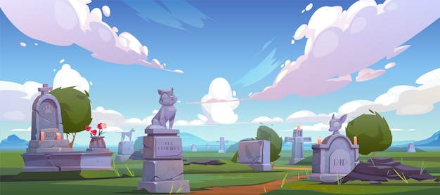 Pet cemetery, animal graveyard with tombstones Free Vector