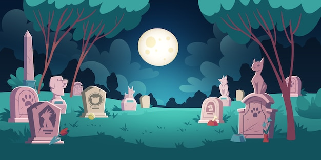 Pet cemetery with graves and tombstones Free Vector