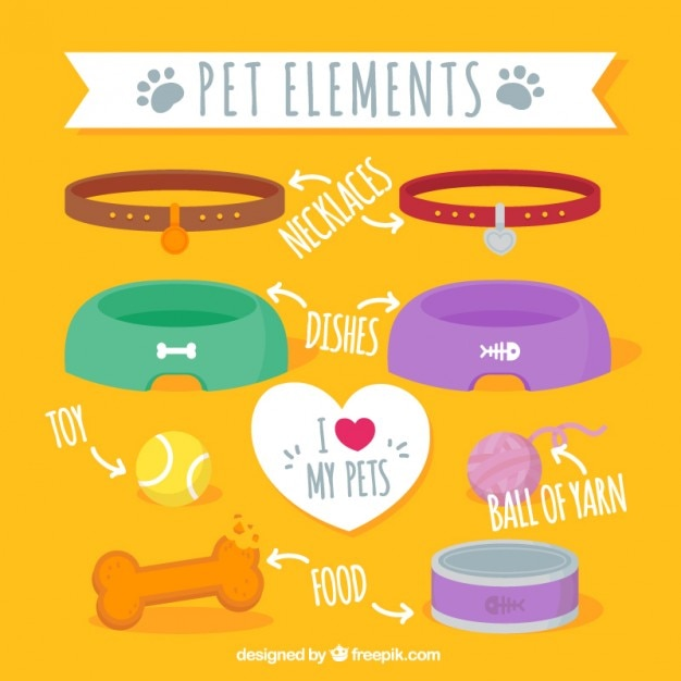 Pet elements pack Free Vector