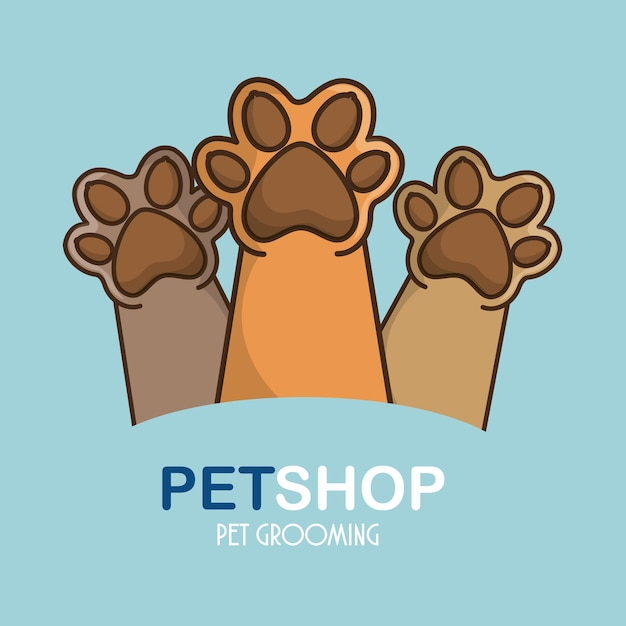 Pet feets up isolated icon Premium Vector