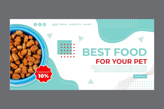 Pet food landing page template with photo Free Vector