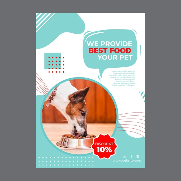 Шаблон плаката корма для домашних животных с фото Бесплатные векторы