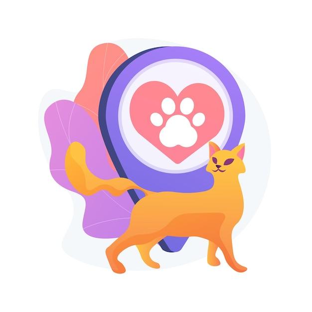 Area pet friendly. animali domestici, bar per gli amanti dei gatti, posizione centrale per i felini. siluetta della zampa dell'animale domestico sul segno rosso del cuore. simbolo dell'hotel animali. Vettore gratuito