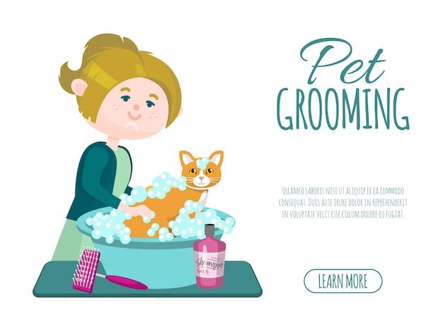 Зоосалон бизнес. грумер девушка моет милый рыжий кот с шампунем. рекламный баннер по уходу за домашними животными. Premium векторы