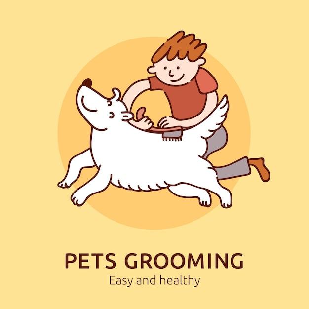 簡単で健康的なペットのグルーミング、猫と犬の飼い主のためのイラストフラット 無料ベクター
