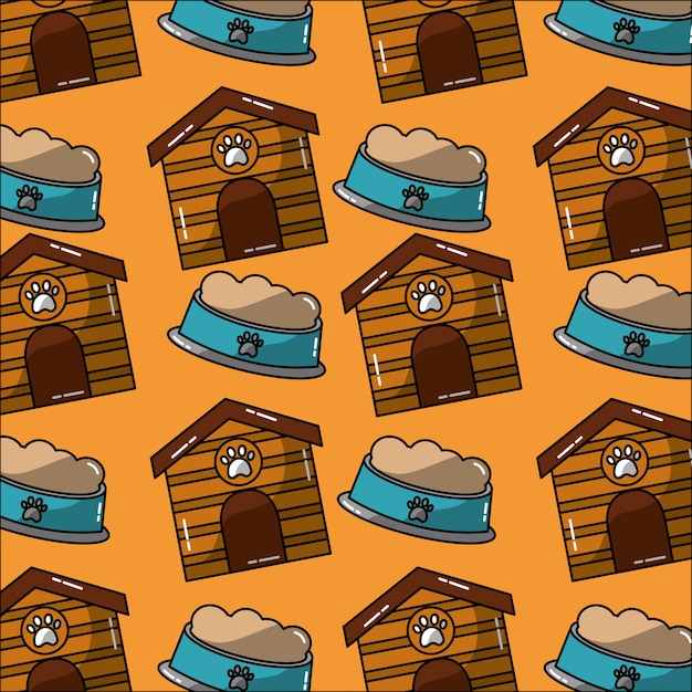 Pet house and bowl food seamless pattern Free Vector