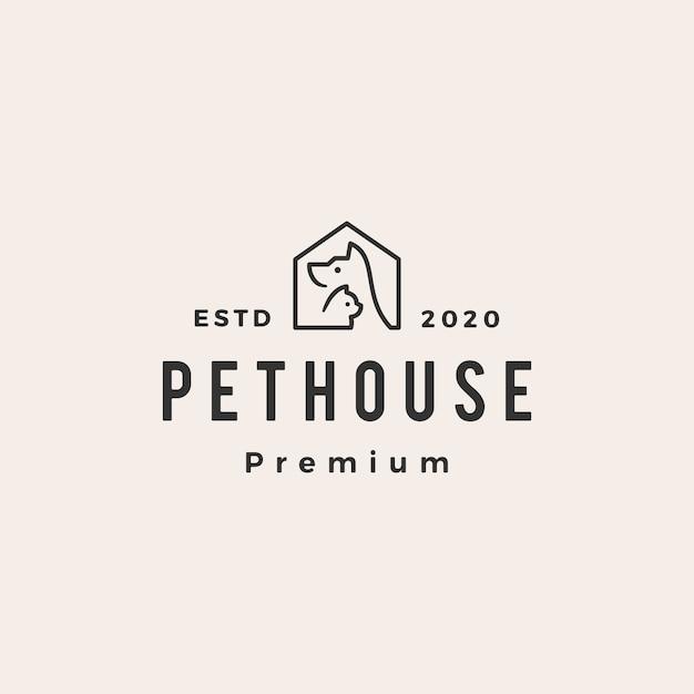 Pet house dog cat хипстер старинный логотип значок иллюстрации Premium векторы