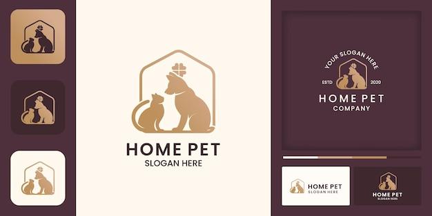 ペットハウスのロゴデザイン、ハッピーペット、名刺 Premiumベクター