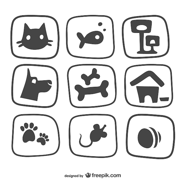 Free Vector Pet Icons Pack