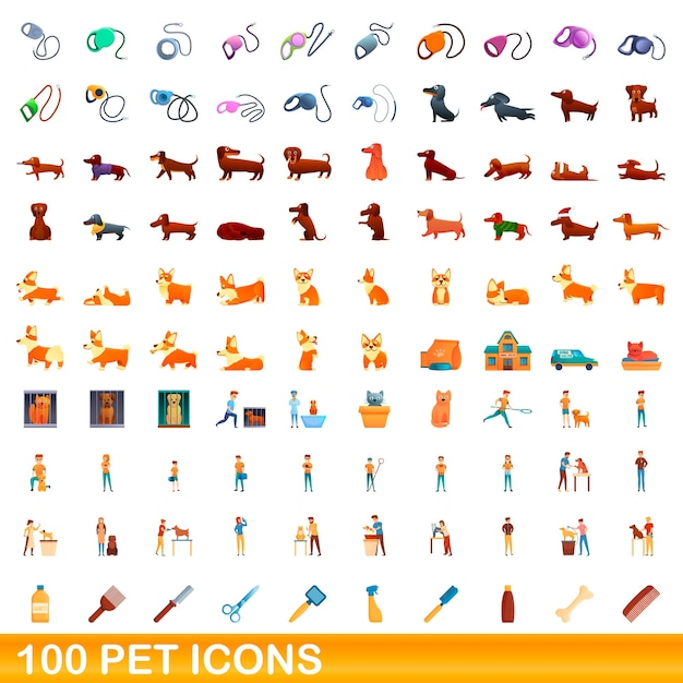 애완 동물 아이콘을 설정합니다. 애완 동물 아이콘의 만화 그림 흰색 배경에 설정 프리미엄 벡터