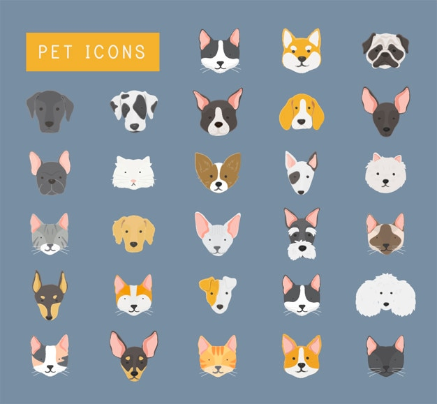 Pet icons Free Vector