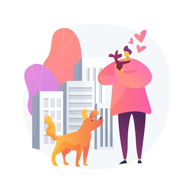 큰 도시 추상적 인 개념 그림에서 애완 동물. 아파트, 애완 동물 산책 장, 반려견 편의 도시, 규칙 및 규정, 야외 시설 청소 무료 벡터