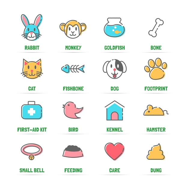 Pet line icons with flat colors Premium Vector