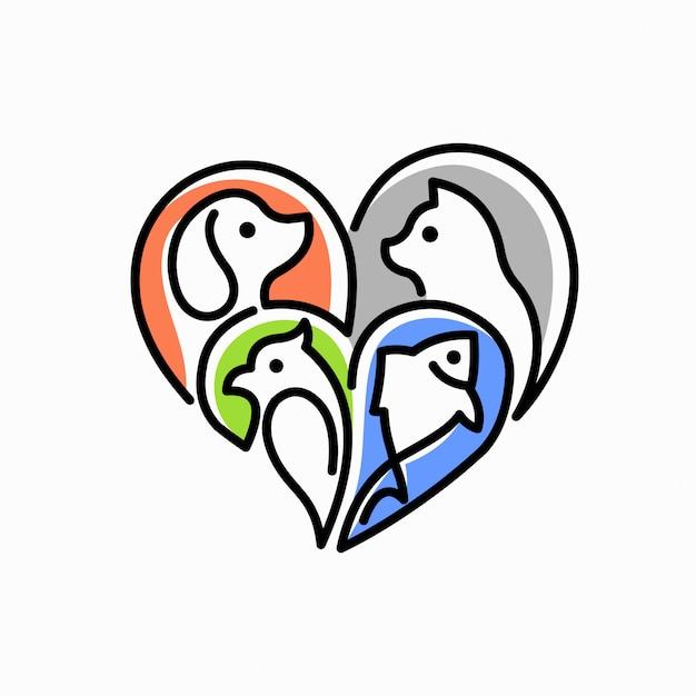 Pet love logo Premium Vector