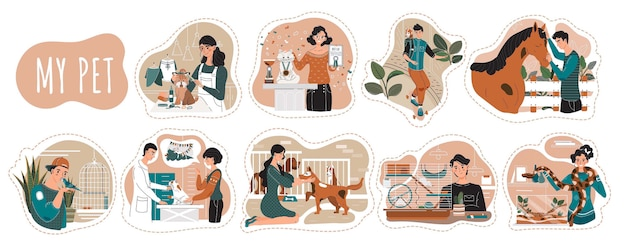 Pet owners cartoon characters,  illustration. men and women spending time with animals, people taking care of dog, cat, horse and bird. dog grooming and pet shelter animals Premium Vector