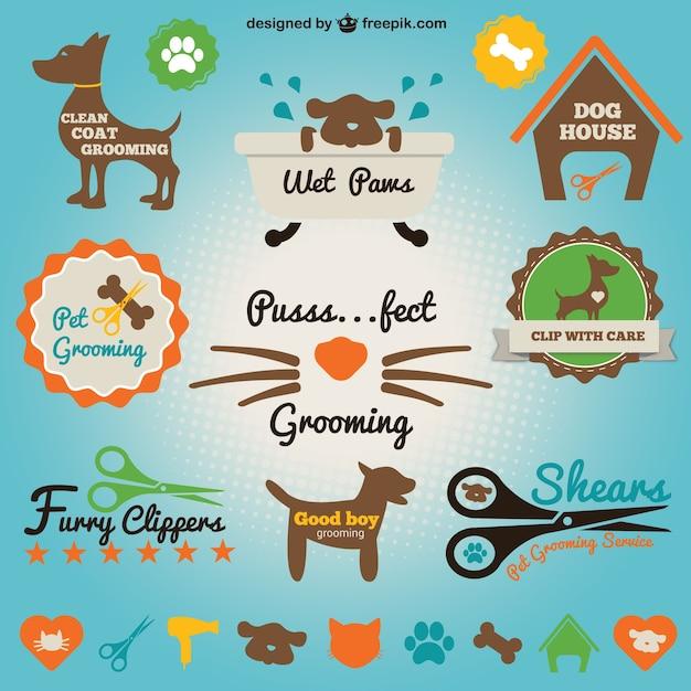 Pet salon набор иконок Бесплатные векторы