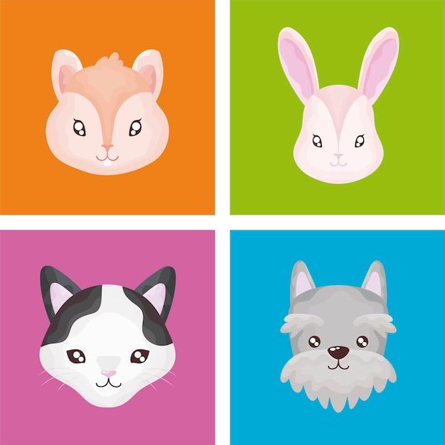 Набор иконок для домашних животных, кошка, собака, кролик, хомяк, цвет фона иллюстрации Premium векторы