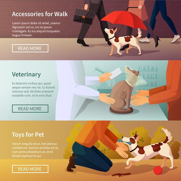 Pet shop banners set Free Vector