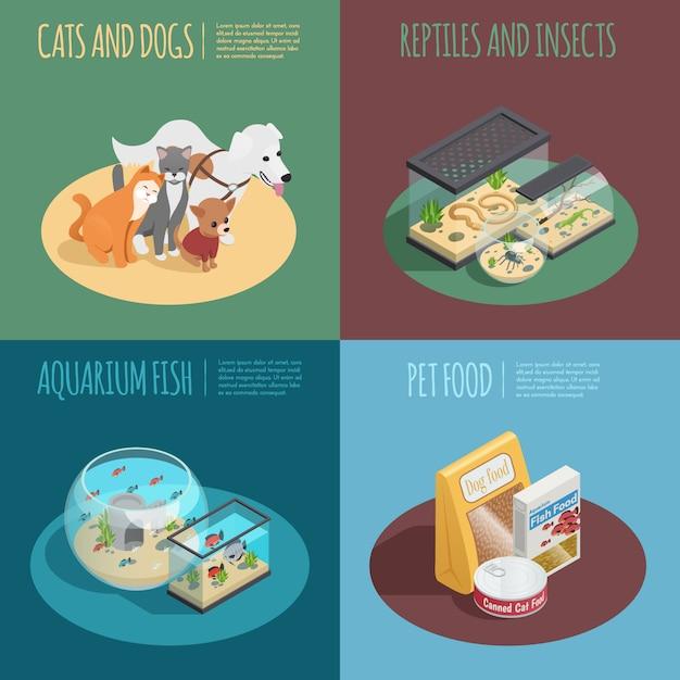 Pet shop concept isometric icons set with pet food symbols Free Vector