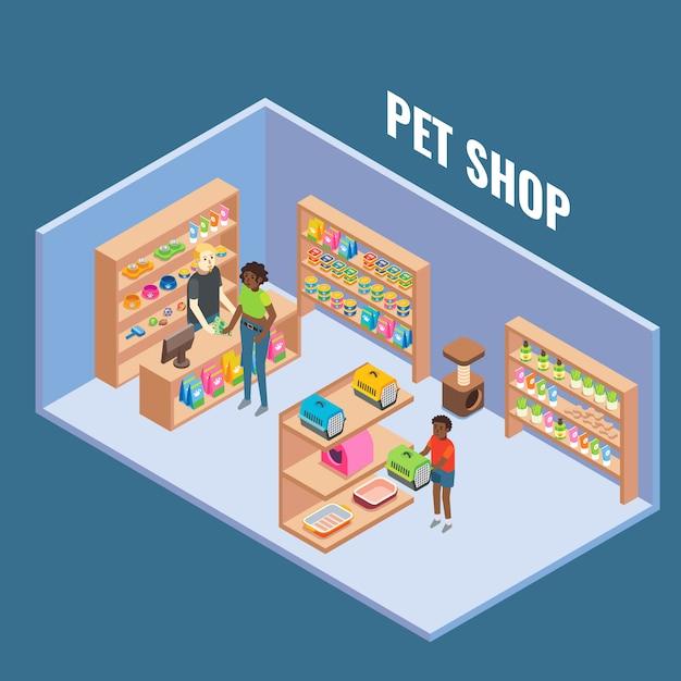 Pet shop cutaway interior flat isometric illustration Premium Vector