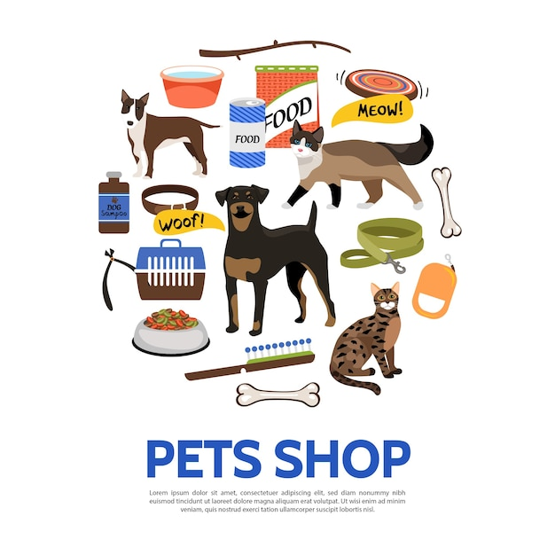 Pet shop elements template in flat style Free Vector
