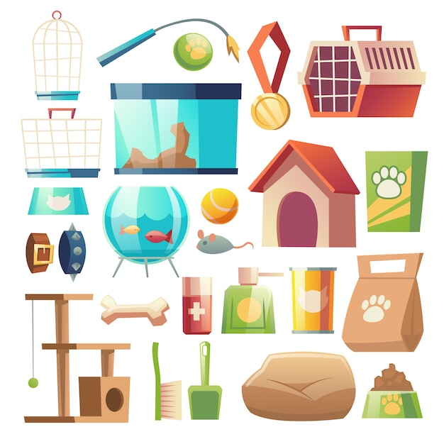 Pet shop food and accessories set Free Vector
