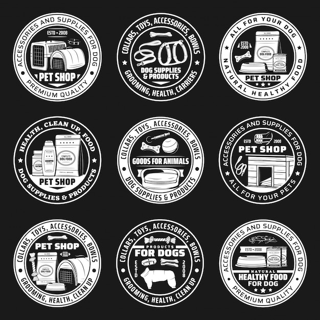 Pet shop icons, dog food and animal care supplies Premium Vector