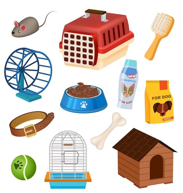 Pet shop icons set in cartoon style Premium Vector