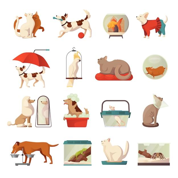 Pet shop icons set Free Vector
