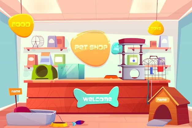 Pet shop interior, domestic animal store with counter desk, accessories, food, cat and dog houses Free Vector