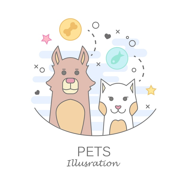 Pet shop logo design templates in flat cartoon style - friendly cats and dogs Free Vector