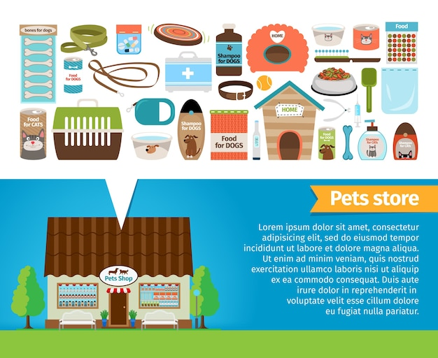 Pet shop. pets accessories and vet store. tongs and plate, shampoo and syringe, leash and food Free Vector