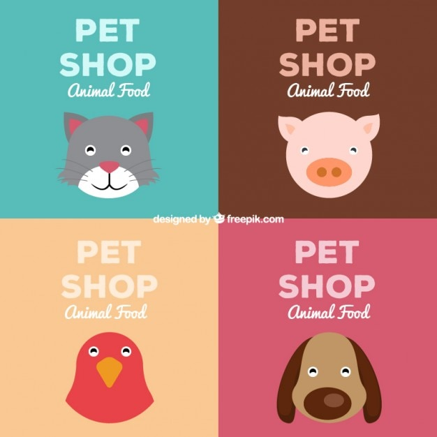 Pet shop retro drawing posters Free Vector