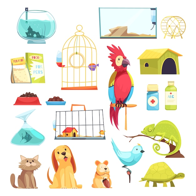 Pet shop set Free Vector