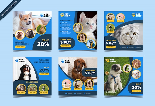 Pet shop social media post template Premium Vector