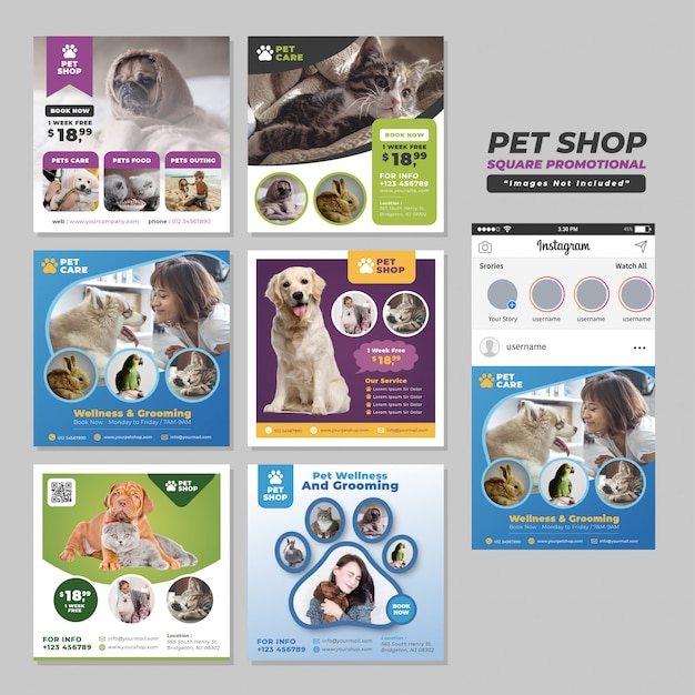 Pet shop social media square promotional template Premium Vector