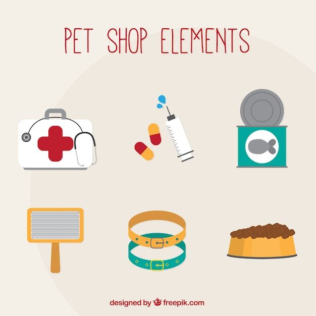 Pet shop and vet elements Free Vector