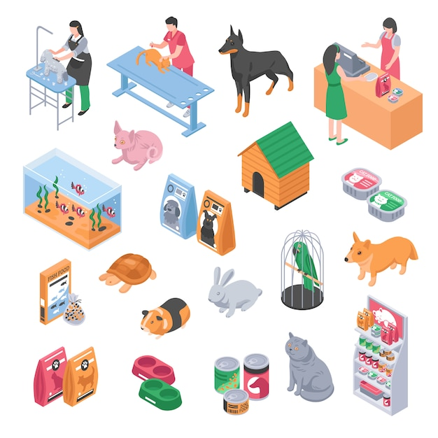 Pet shop veterinary grooming icon set Free Vector