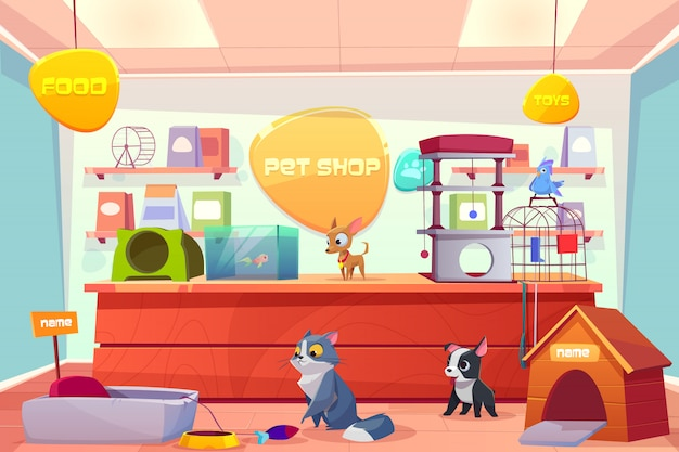 Pet shop with home animals, store interior with cat, dog, puppy, bird, fish in aquarium. Free Vector
